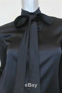 Balenciaga Tie Neck Blouse Black Silk Satin Size 36 Long Sleeve Top