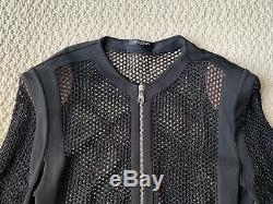 Balmain Black Mesh Stretch Jersey Zip Longsleeve Top Bodysuit Sz 46 US 14 $2595
