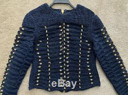 Balmain H&m Navy Rope Long Sleeve Top Gold Details Zip Eu40/uk14 Worn Once