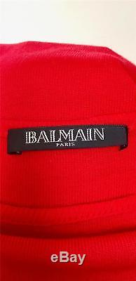 Balmain Long Sleeve Red Embellished Button 100% Cotton Jersey Top Size French 38