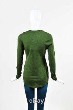 Balmain NWT $780 Olive Green Wool Knit Ruffle Button Down Long Sleeve Top SZ 42