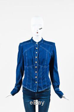 Balmain NWT $920 Blue Denim Embellished Button Up Long Sleeve Shirt Top SZ 42
