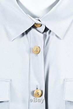 Balmain NWT Gray Crepe de Chine Silk Button Accent Long Sleeve Blouse Top SZ 42