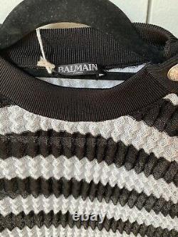 Balmain Pleated Long Sleeve Top Size FR38