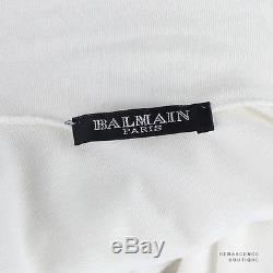 Balmain White Roll Neck Gold Eagle Crest Buttoned Long Sleeve Top FR38 UK10