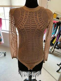 Balmain Womens Long Sleeve Mesh High Neck Bodysuit /Top Beige Size EUR 44