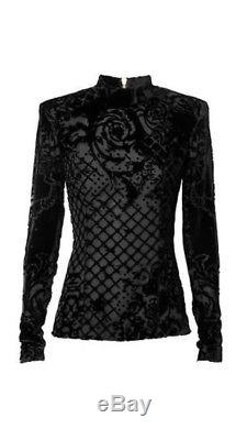 Balmain X H&M Black Velvet Long Sleeve Top