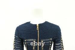 Balmain X H&M Blue Beaded Long Sleeved Top Blouse Size 2 UK 6