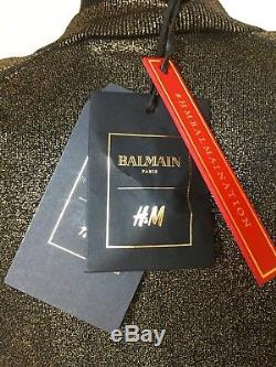 Balmain X H&m Gold Metallic Shimmer Long Sleeve Top 8uk 34eu 4usa New With Tags