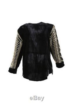 Balmain x H&M Black Velvet Long Sleeve Embellished Top SZ 10
