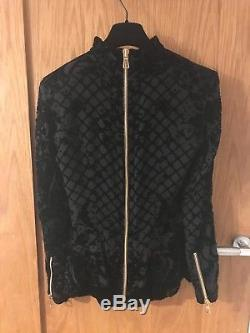 Balmain x H&M Limited Edition Black Velvet Longsleeve Luxury Top with Gold Zips