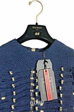 Balmain x H&M Rope Navy Blue Top Military Jacket Shirt Blouse Gold Size 34/ US 4