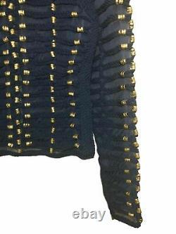 Balmain x H&M Rope Navy Blue Top Military Jacket Shirt Blouse Gold sizeEUR36 US6