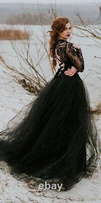 Black Lace Tulle Gothic Wedding Dresses Sexy Sheer Top Slit Skirt Bridal Gowns