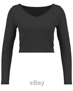 Blue Inc Womens Cropped Top, Black, Ribbed, Cotton, Long Sleeve, Scoop Neck