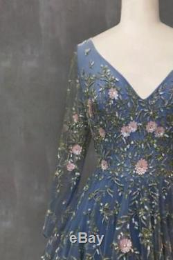 Blue Wedding Dresses Bridal Ball Gowns Custom V Neck Long Sleeve Top Lace Boho