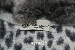 Blumarine Leopard Black And White Women's Top/Sweater Chinchilla Fur Size 40