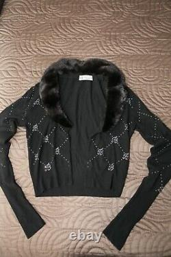 Blumarine Top / Sweater With Mink And Swarovski Crystals Size 40 Italian