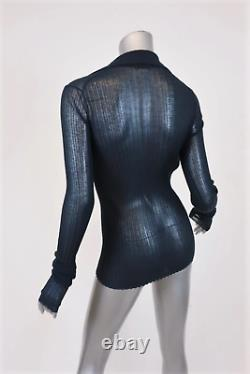 Bottega Veneta Knit Top Navy Sheer Rib Size 40 Long Sleeve Collared Sweater