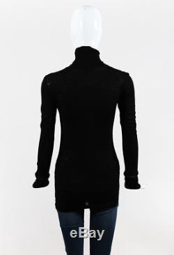 Brunello Cucinelli Black Wool Knit Long Sleeve Monili Beaded Top SZ S