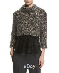 Brunello Cucinelli Sweater Top Cropped Knit Long sleeve Sequin designer size S