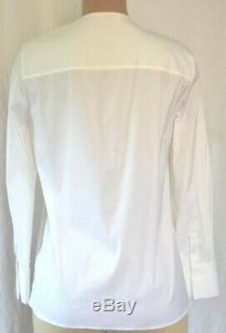 Brunello Cucinelli White Cotton Long Sleeves Silver Beaded Front Top Size XL