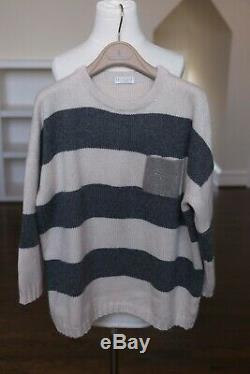 Brunello Cucinelli knit sweater top with monili pocket striped long sleeve L