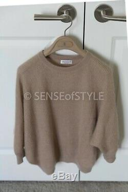 Brunello Cucinelli sweater top nude knit long sleeve size S