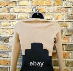 Burberry Prorsum Women's Black & Beige Stretch Fitted Long Sleeve Top Size UK 8