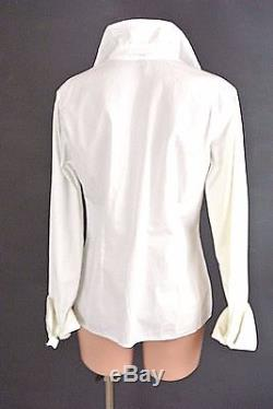 Burberry Women's Button Down Top 8 White Beaded Cotton Long Sleeves Blouse1008
