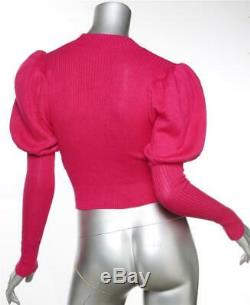 CAMILA COELHO Womens Fuchsia Pink Knit Puff-Long-Sleeve Top Sweater S NEW