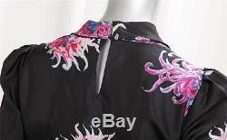 CAROLINA HERRERA Black Silk Floral Cowl Neck Long-Sleeve Peplum Top Blouse 2 NEW