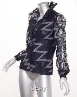 CAROLINA HERRERA Womens VINTAGE Black Lace Long-Sleeve Blouse Top Shirt S