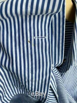 CELINE Blue White Stripe Print Cotton Long Sleeve ButtonUp Blouse Top Shirt 40/2