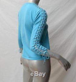 CELINE Cyan Blue Corset Lace-Up Long Sleeve Wool Blend Sweater Knit Top L/US6-8