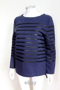 CELINE Navy-Blue & Black Leather Striped Long-Sleeve Shirt Top M