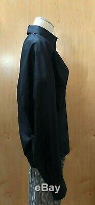 CELINE Phoebe Philo Vtg Black Cotton Long Sleeve V Neck Collar Top Blouse 38/6