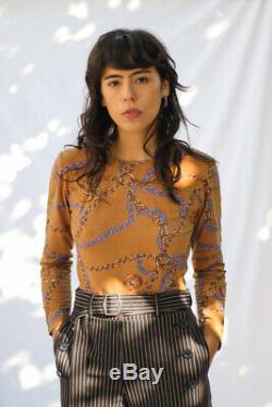 CELINE Vtg Phoebe Philo Brown Purple Chain Print Long Sleeve TShirt Top S/M