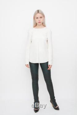 CELINE White Ivory Silk Crepe Long Sleeve Criss Cross Back Blouse Dress Top 36/4