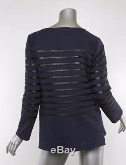 CELINE Womens Navy-Blue & Black Leather Striped Boatneck Long-Sleeve Shirt Top M