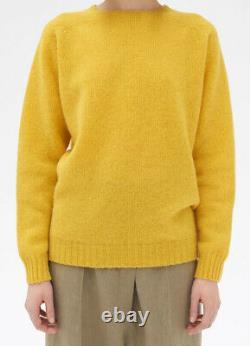 CELINE Yellow Phoebe Philo Shetland Wool Light Pullover Long Knit Top Sweater S