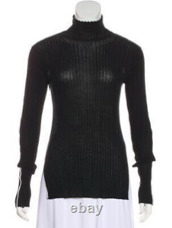 CELINE knit long sleeve top cotton black white contrast mock neck old phoebe XS