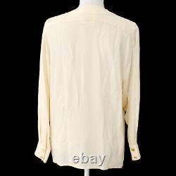 CHANEL 00761 #40 CC Logos Front opening Long Sleeve Tops Shirt Ivory AK33233e