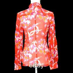 CHANEL 01S #36 Floral Front Opening Long Sleeve Tops Shirt Red Silk AK41347