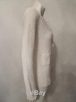 CHANEL 02P white crochet long sleeve rhinestone buttons knit top sweater sz 40