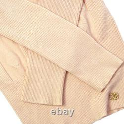 CHANEL 03A #34 Bow Charm CC Logos Button Long Sleeve Tops Beige Pink AK46196