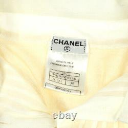 CHANEL 03C #38 CC Button Long Sleeve Knit Tops Shirt Ivory Authentic 01205