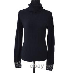 CHANEL 04A #42 Turtleneck Long Sleeves Knit Tops Black Authentic 01926