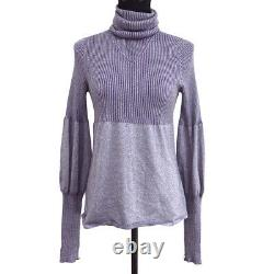 CHANEL 05A #40 Turtleneck Long Sleeves Knit Tops Purple Italy Authentic 00820