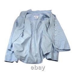 CHANEL 05C #38 CC Long Sleeve Tops Blouse Shirt Light Blue Authentic 01738